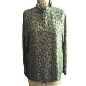 Vintage Talbots high collar silk tunic top blouse